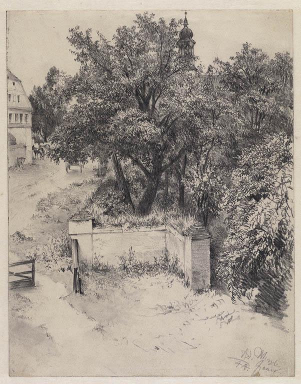 Adolph  Menzel (1815-1905), Een tuinmuur en een hek van een buitenplaats in Jauer, Silezië, 1844, tekening, Teylers Museum